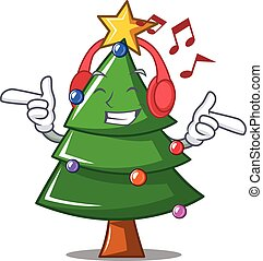 Listening music Christmas tree character cartoon