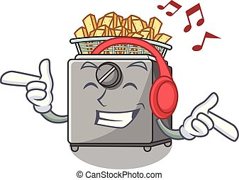 Listening music cooking french fries in deep fryer cartoon...