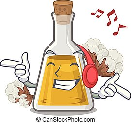 Listening music cottonseed oil in the cartoon shape vector ...