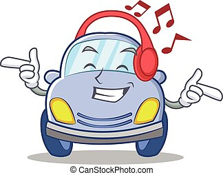 Listening music cute car character cartoon vector...