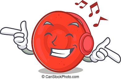 Listening music erythrocyte cell mascot cartoon character ...