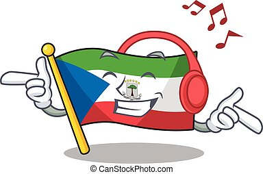 Listening music flag equatorial guinea Scroll mascot cartoon...
