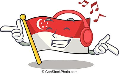 Listening music flag singapore isolated with the character vector illustration