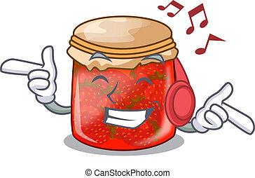 Listening music fresh tasty strawberry jam on mascot vector...