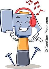 Listening music hammer character cartoon emoticon
