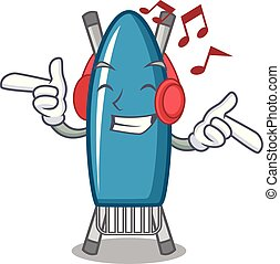 Listening music iron board mascot cartoon vector illustration