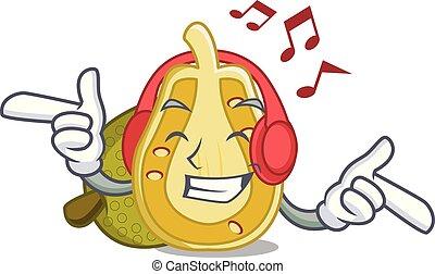 Listening music jackfruit mascot cartoon style vector...