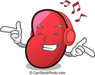 Listening music jelly bean mascot cartoon vector illustration