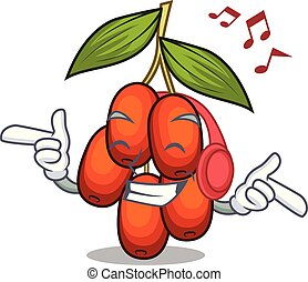 Listening music jujube fruit in the shape mascot vector illustration