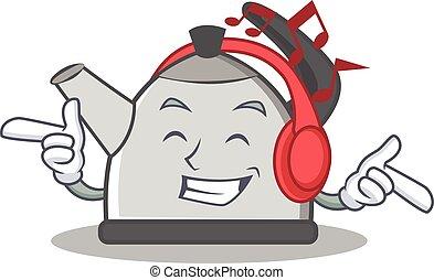 Listening music kettle character cartoon style vector...