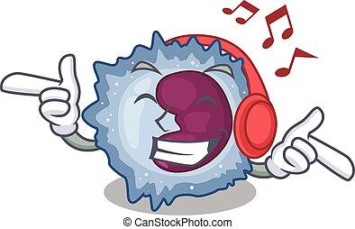 Listening music monocyte cell mascot cartoon character ...