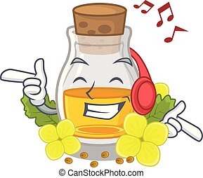 Listening music mustard oil wrapped in mascot box vector ...