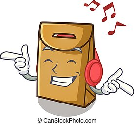 Listening music paper bag in the cartoon shape