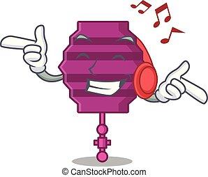 Listening music paper lantern mascot cartoon