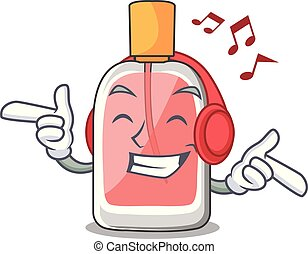 Listening music perfume bottle on the character table vector...