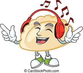 Listening music pierogi mascot cartoon character design. Vector illustration