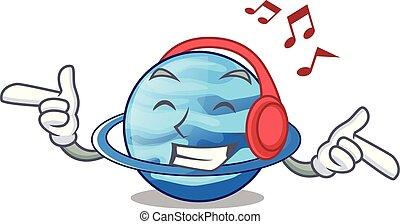 Listening music planet uranus in the cartoon form vector...