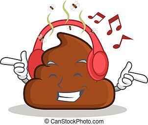 Listening music Poop emoticon character cartoon