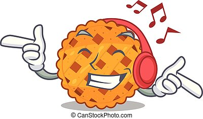 Listening music pumpkin pie isolated in the mascot vector ...