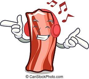 Listening music ribs mascot cartoon style vector...