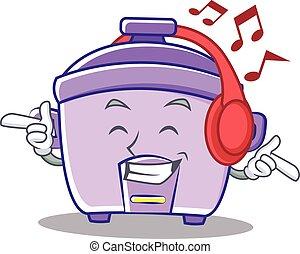 Listening music rice cooker character cartoon