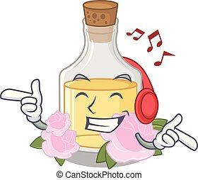 Listening music rose oil in the cartoon shape
