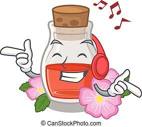 Listening music rose seed oil the cartoon shape vector ...
