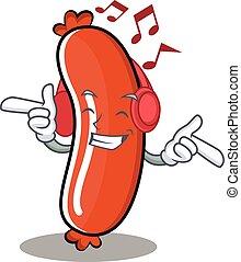 Listening music sausage character cartoon style