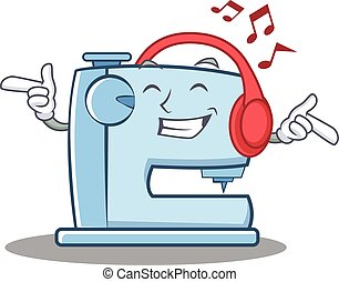 Listening music sewing machine emoticon character