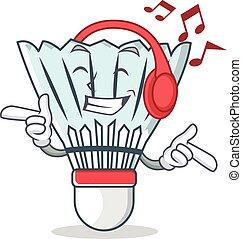 Listening music shuttlecock character cartoon vector art...