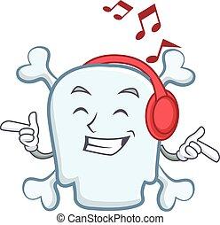 Listening music skull character cartoon style