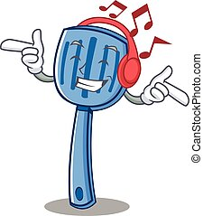 Listening music spatula character cartoon style