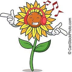 Listening music sunflower mascot cartoon style vector...