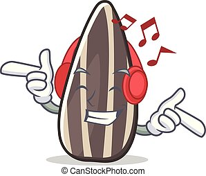 Listening music sunflower seed mascot cartoon vector...