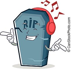 Listening music tombstone character cartoon object