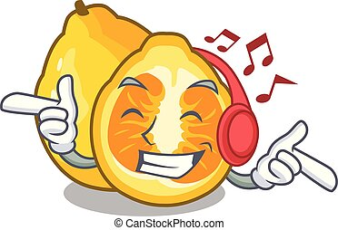 Listening music ugli fruit in the cartoon fridge vector...