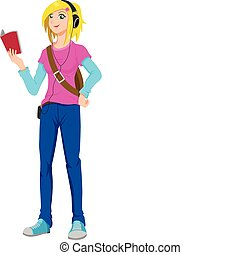 Listening Music - Vector illustration of a teenager...