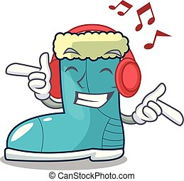 Listening music winter boot on the character rak vector ...