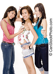Listening to music #1 - Three pretty young asian women...