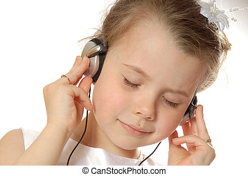 Listening to music - girl happy with mp3 player
