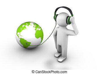 Listening to the world - render of a person with headphones...