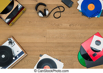 Listening to vinyl records - top view of assorted items, ...