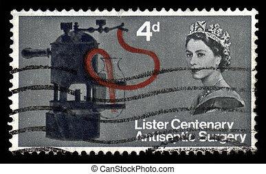 GREAT BRITAIN %u2013 CIRCA 1965: a stamp printed in the Great Britain shows Lister%u2019s carbolic apparatus, circa 1965