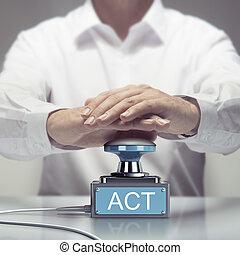 listo, acción, ahora, acto
