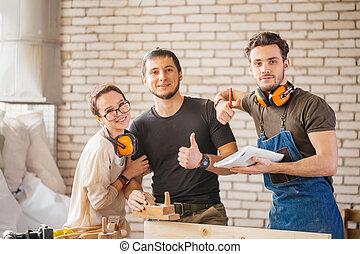 listo, artesanos, trabajo, tres, joven
