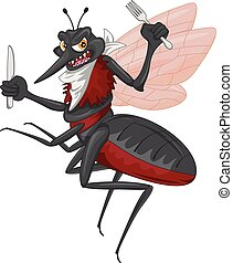 listo, caricatura, mosquito, comer