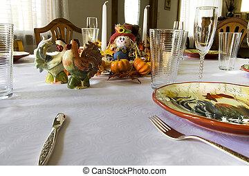 listo, cena, acción de gracias, familia , obteniendo