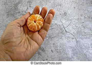 listo, comer, mandarinas, pelado