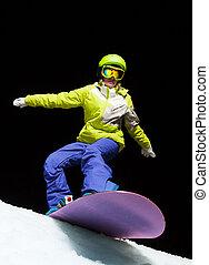 listo, diapositiva, snowboard, niña, noche
