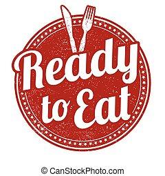 listo, estampilla, comer
